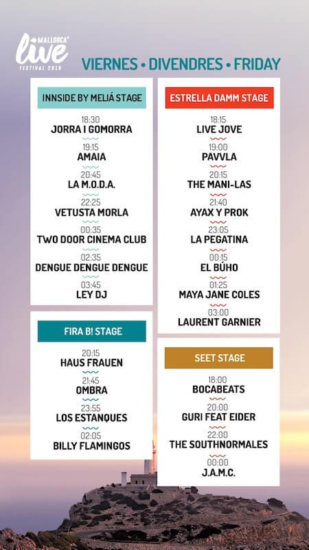 Horarios Mallorca Live Festival 2019 - Viernes
