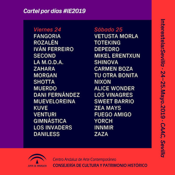 Interestelar Sevilla 2019 - Cartel por días