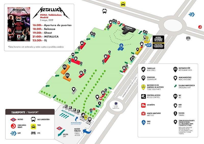 Mapa del recinto - Concierto de Metallica en Madrid