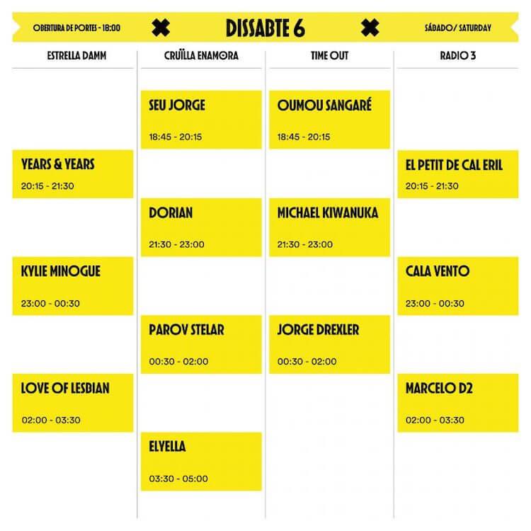 Horarios Cruilla Festival 2019 - Sábado