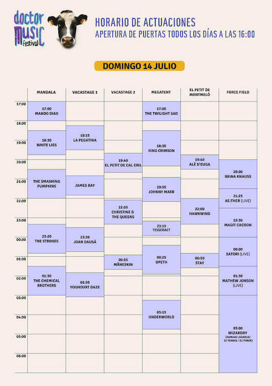 Horarios Doctor Music Festival 2019 - Domingo