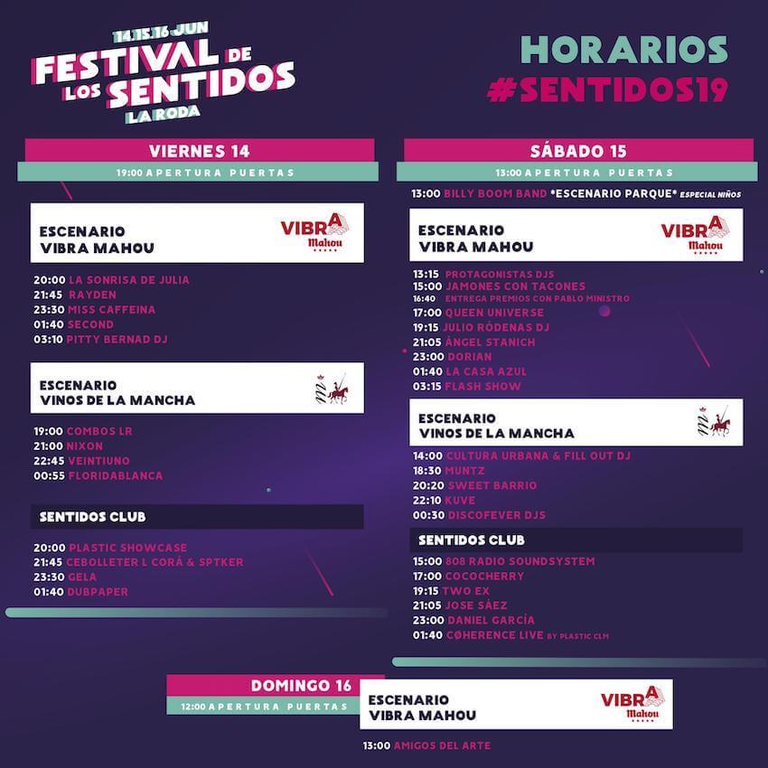 Horarios Festival de los Sentidos 2019