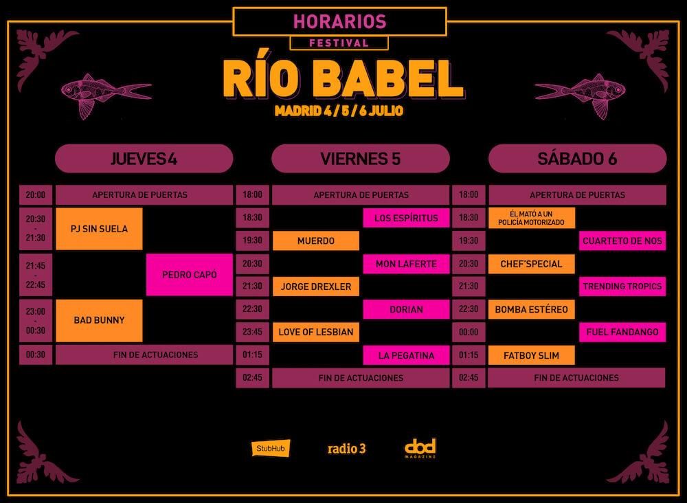 Horarios de Río Babel 2019
