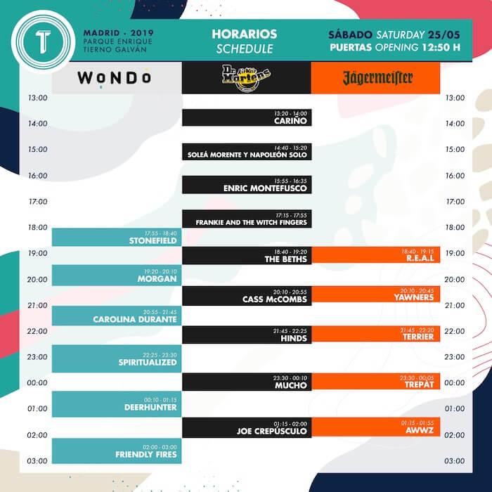 Horarios Tomavistas 2019 - Sábado