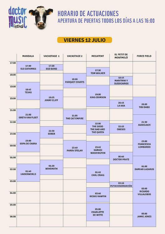 Horarios Doctor Music Festival 2019 - Viernes