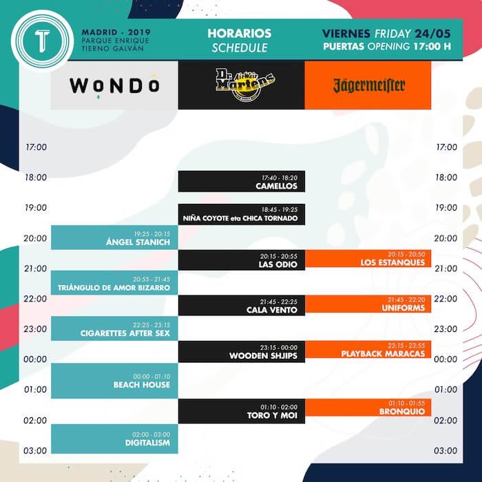 Horarios Tomavistas 2019 - Viernes