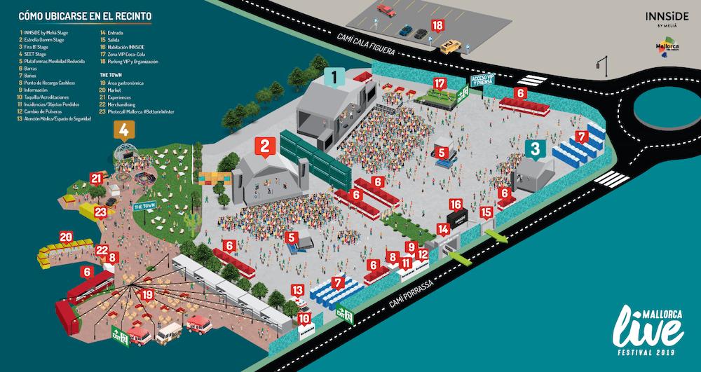 Mapa del Mallorca Live Festival 2019
