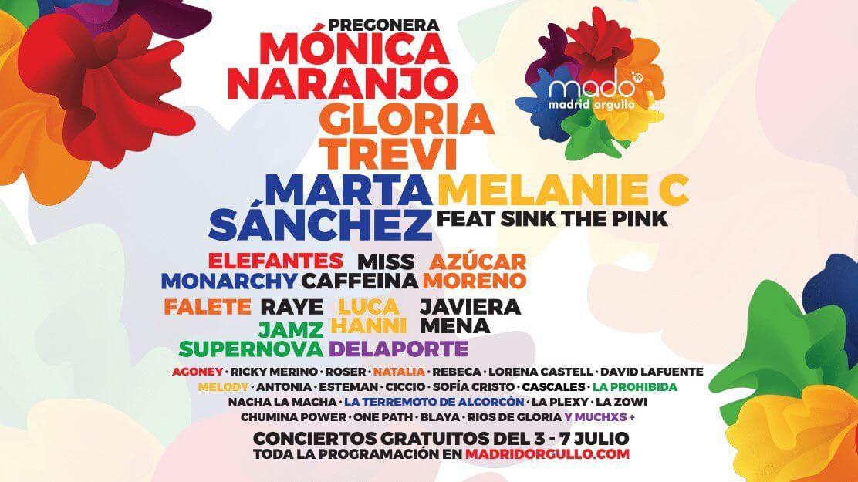 Programación de conciertos Orgullo Madrid 2019 - MADO