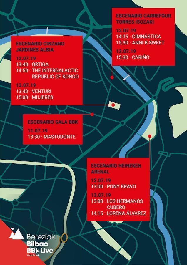 Horarios conciertos gratuitos Bilbao BBK Live 2019