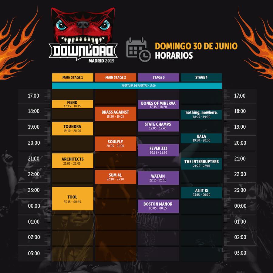 Horarios Download Madrid 2019 - Domingo