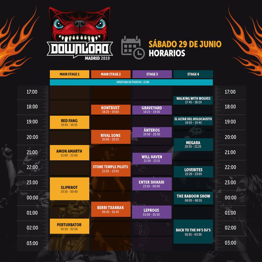 Horarios Download Madrid 2019 - Sábado