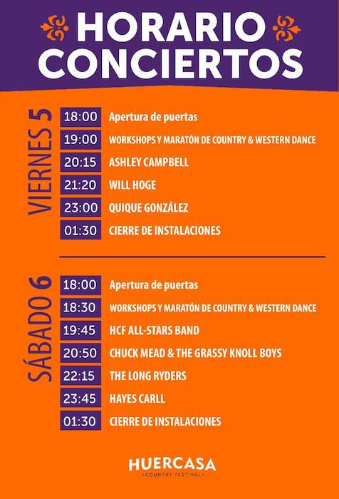 Horarios del Huercasa Country Festival 2019