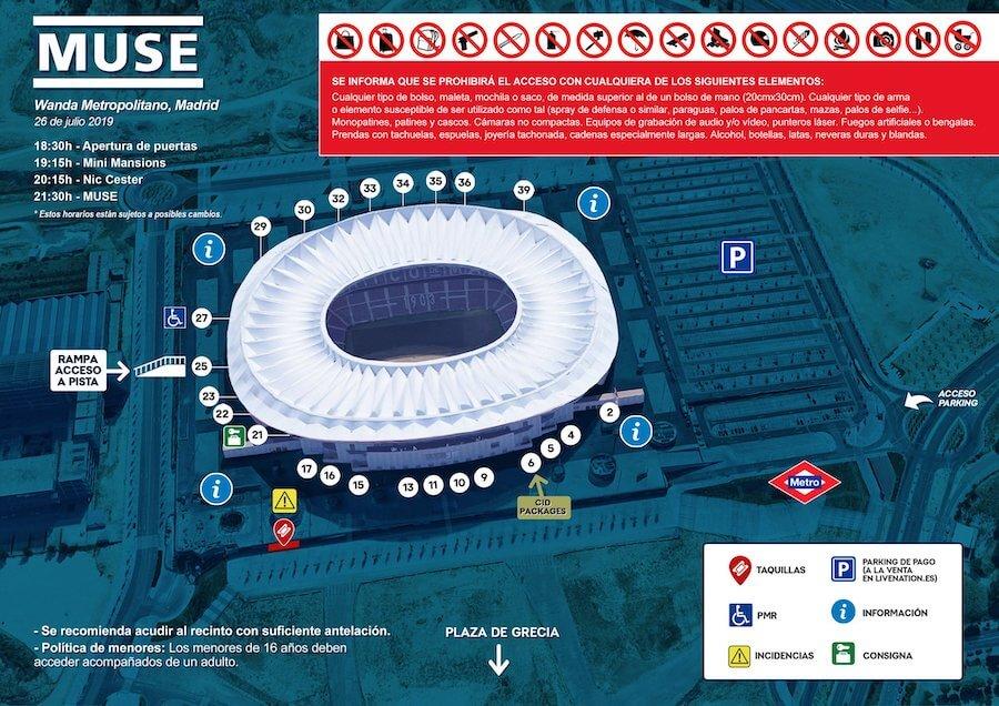 Mapa de Accesos concierto de Muse - Wanda Metropolitano