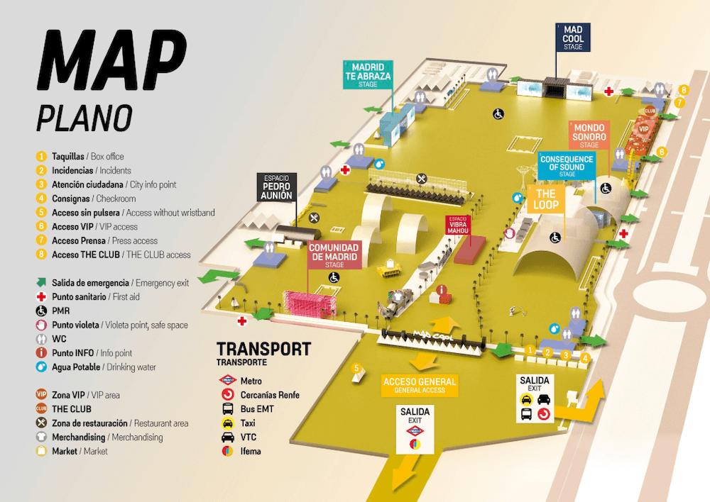Mapa del Festival Mad Cool 2019