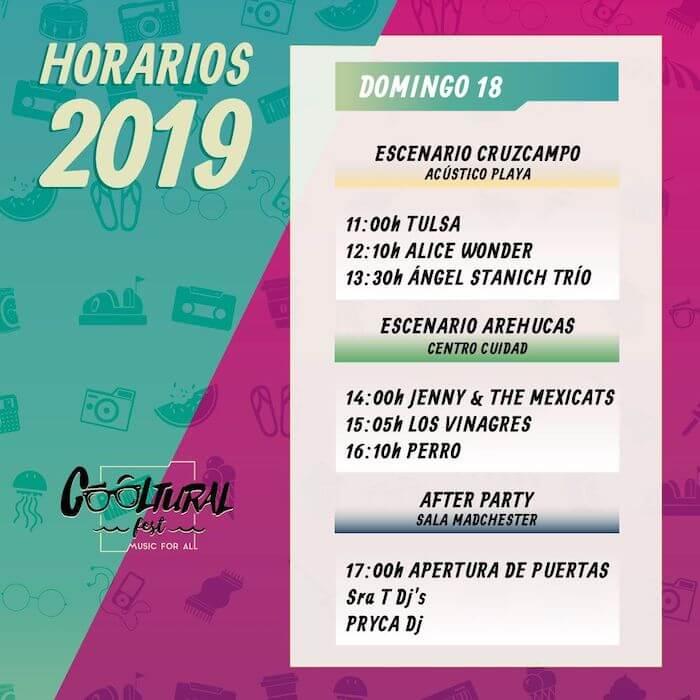 Horarios Cooltural Fest 2019 - Domingo