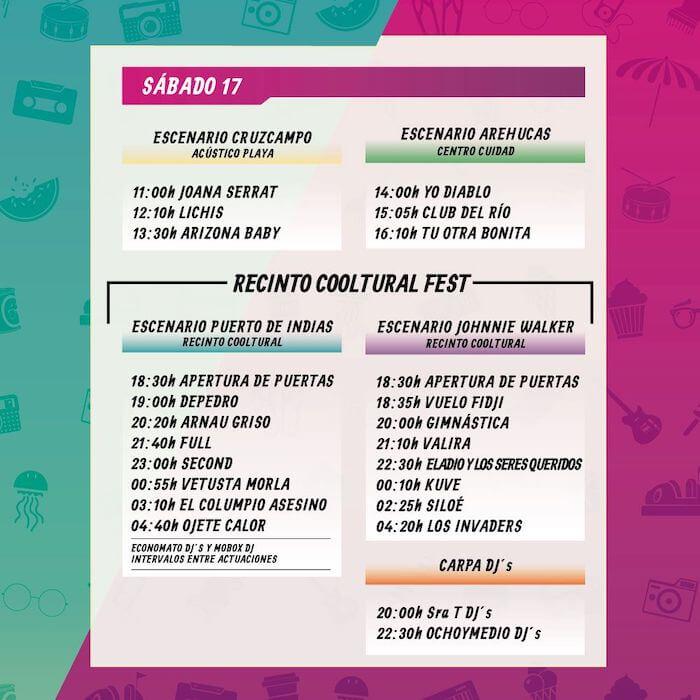 Horarios Cooltural Fest 2019 - Sabado