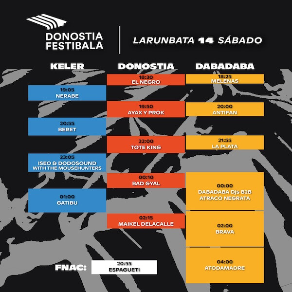 Horarios del Donostia Festibala 2019 - Sábado