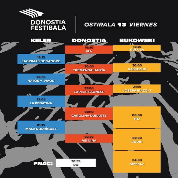 Horarios del Donostia Festibala 2019 - Viernes