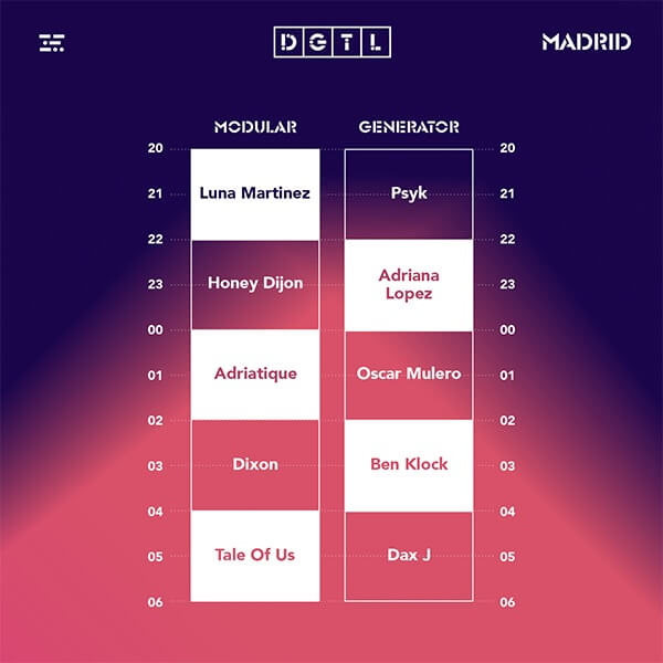 Horarios DGTL Madrid 2019