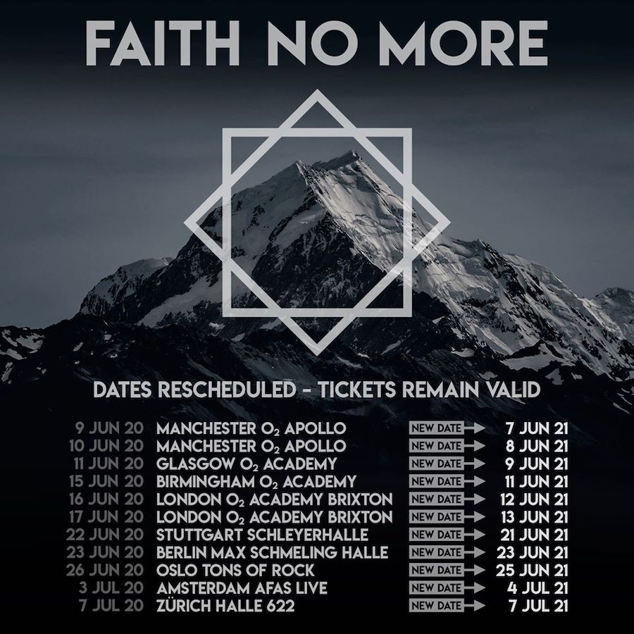 Conciertos de Faith No More en 2021 - Europa