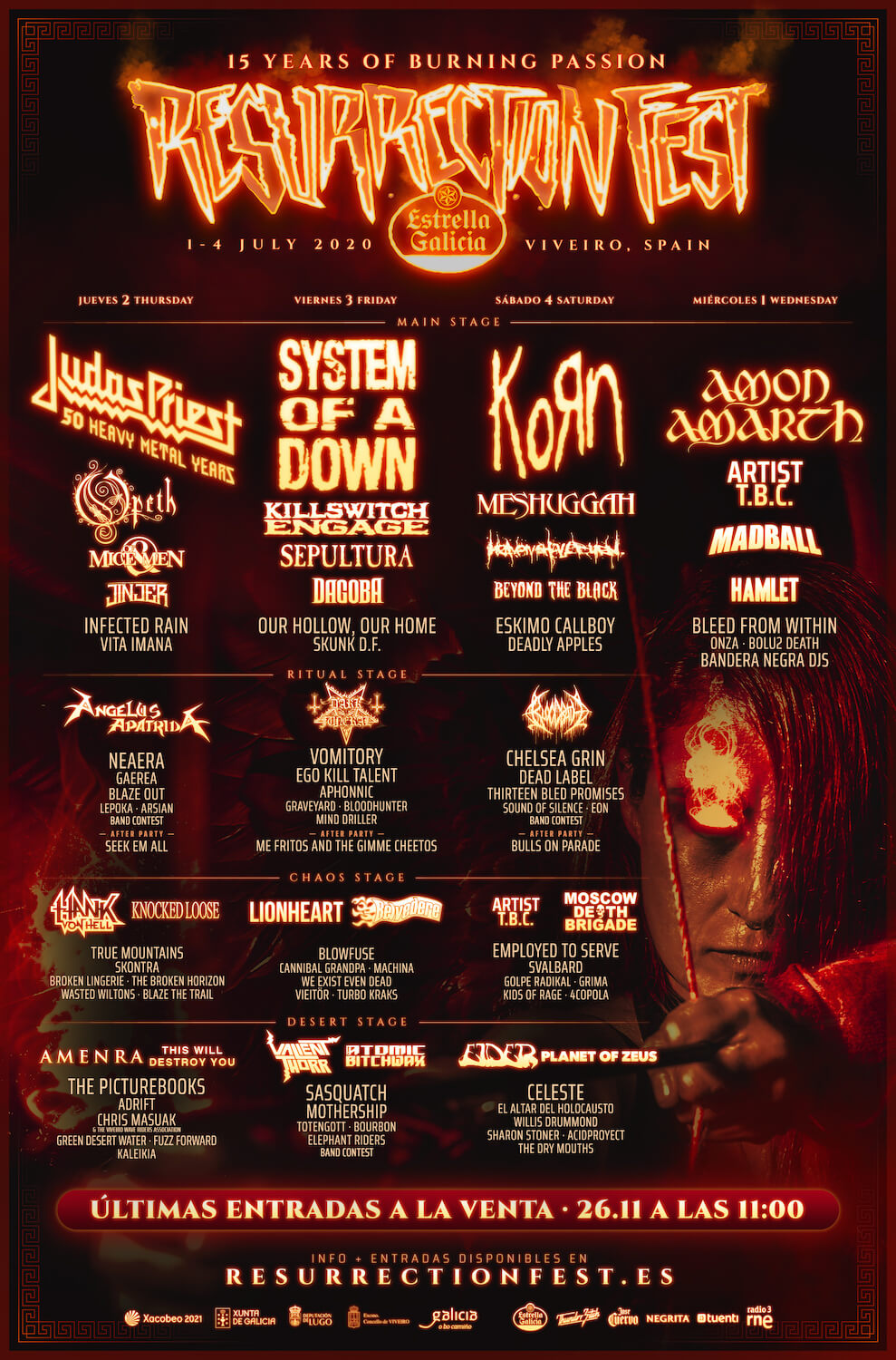 Resurrection Fest 2020 - Cartel por días