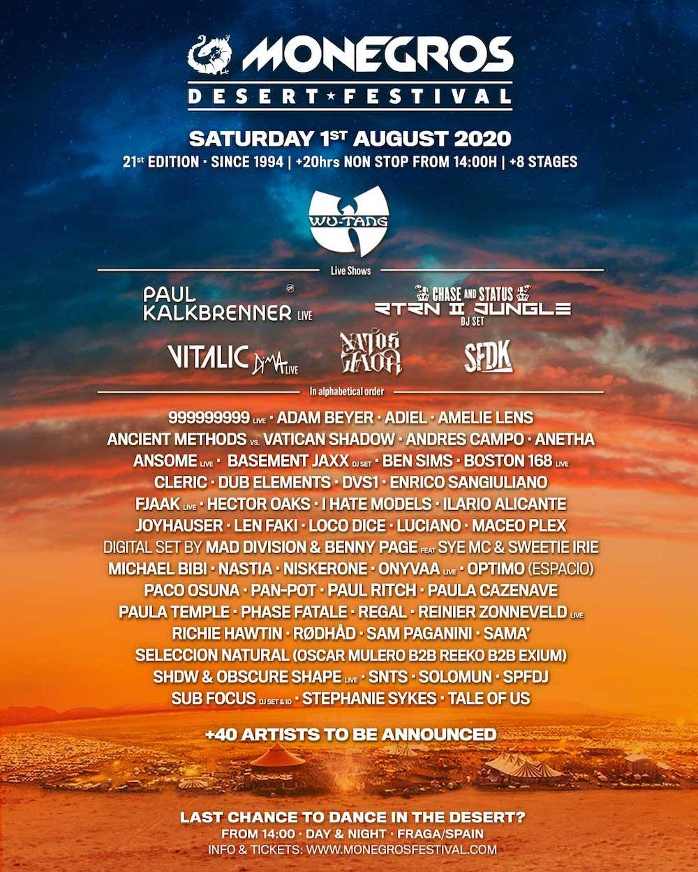 Cartel Monegros Desert Festival 2020