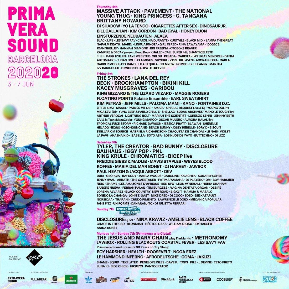 Primavera Sound 2020 - Cartel por días