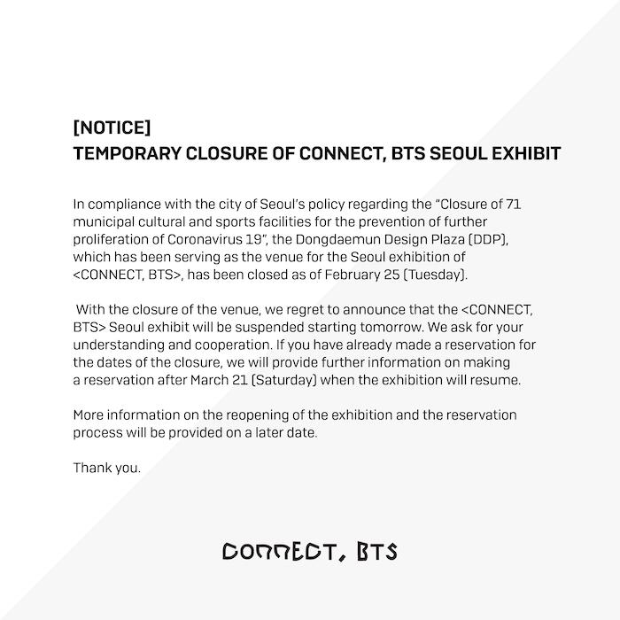 Cancelación de conciertos de BTS