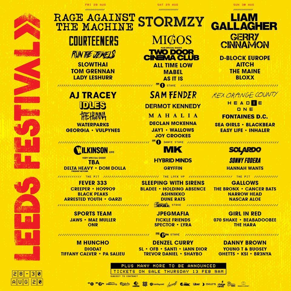 Cartel del Leeds Festival 2020