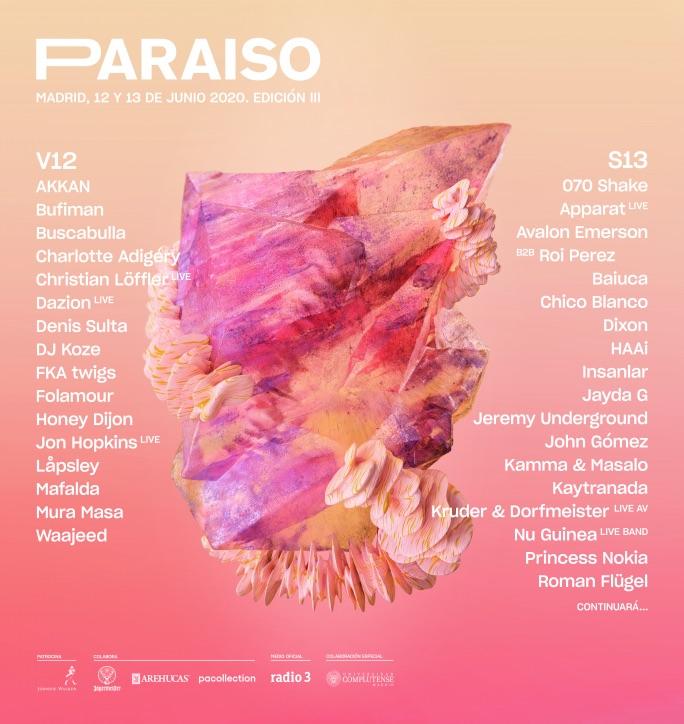 Festival Paraíso 2020 - Cartel por días