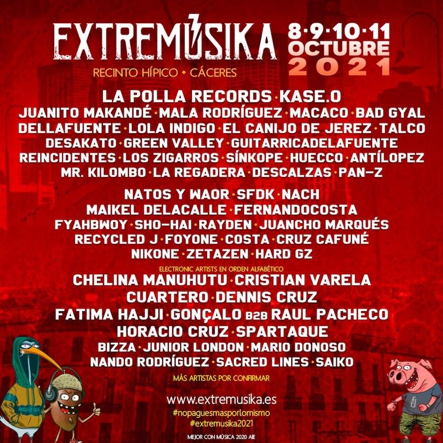 Extremúsika 2021 - Cartel