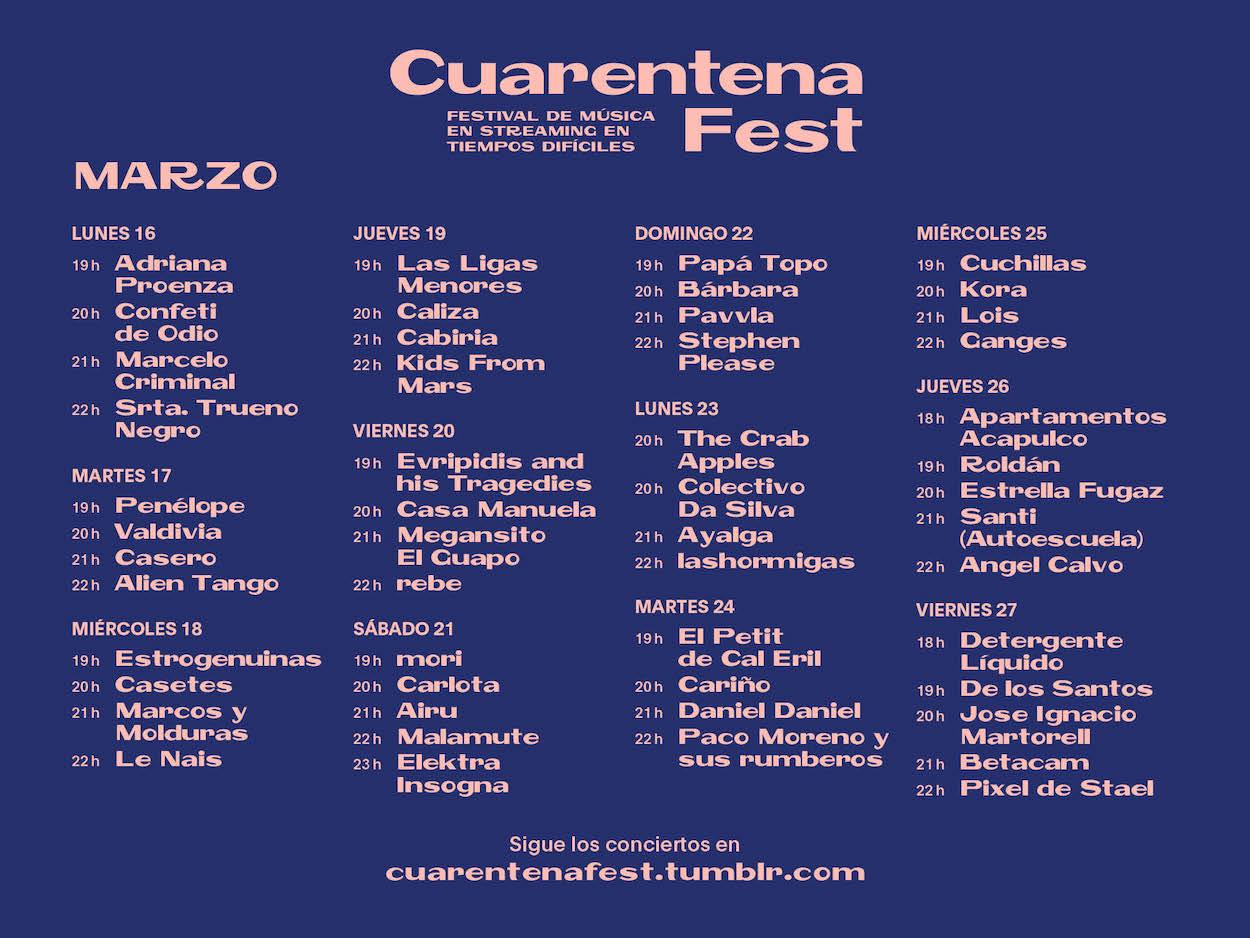 Horarios Cuarentena Fest