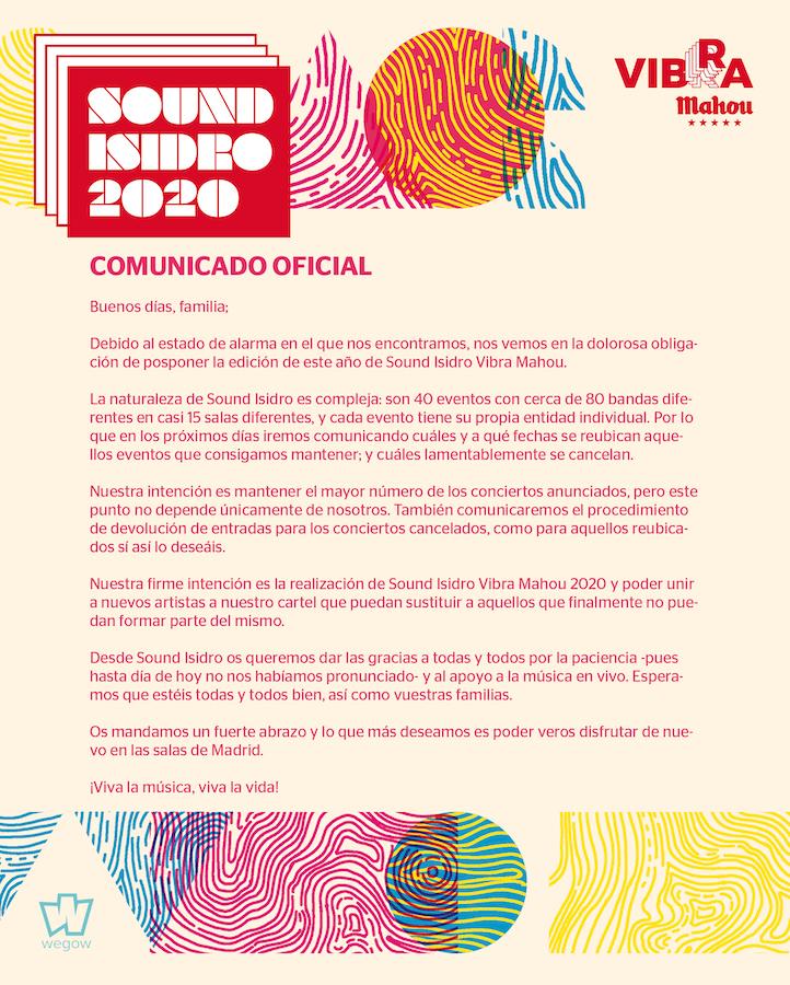Cancelación de Sound Isidro 2020
