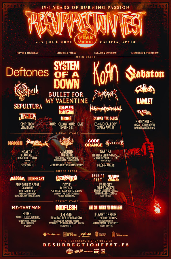 Resurrection Fest 2021 - Cartel por días