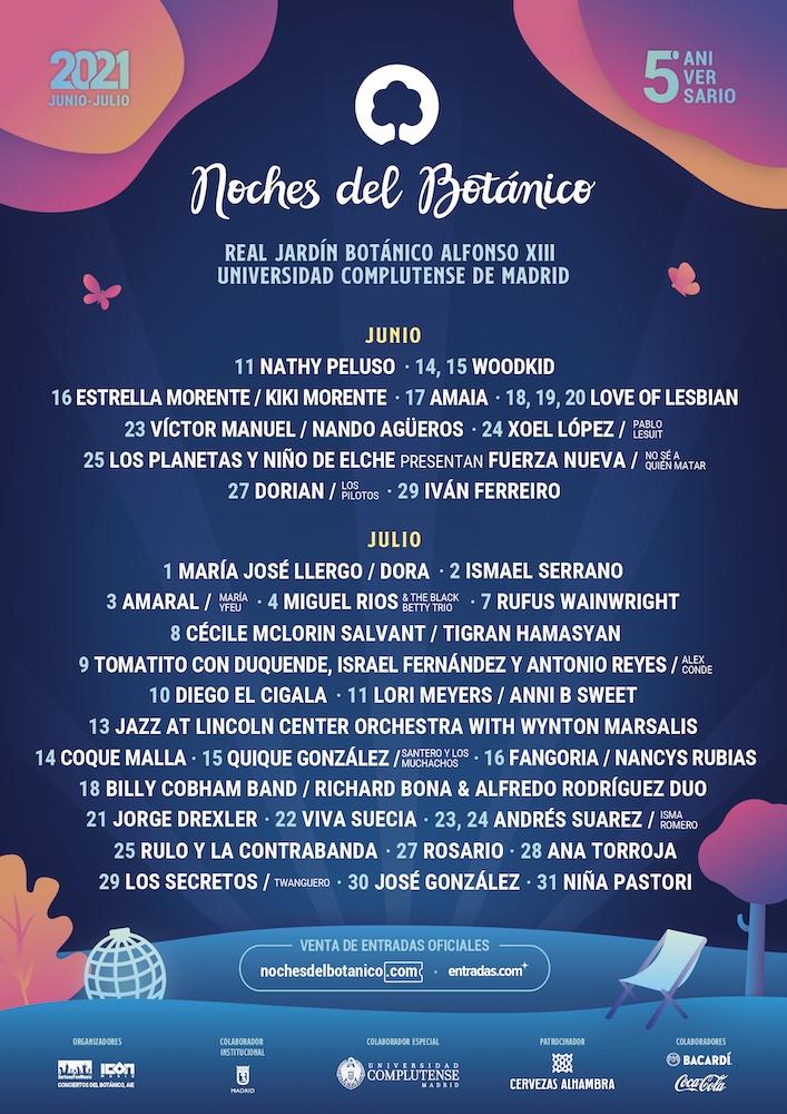 Cartel y conciertos Noches del Botánico Madrid 2021