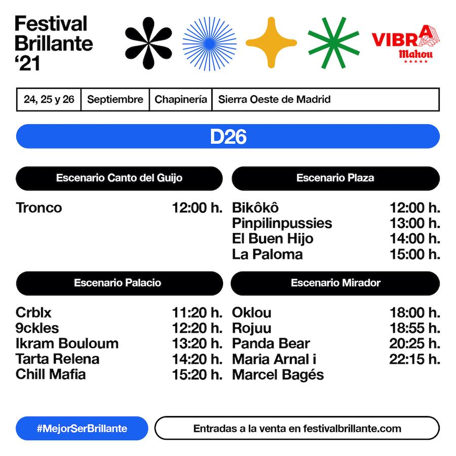 Horarios de Festival Brillante 2021 - Domingo
