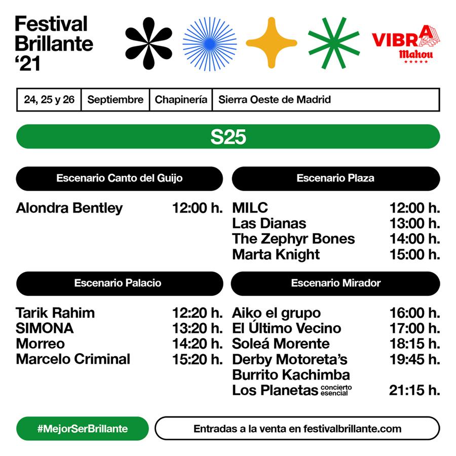 Horarios de Festival Brillante 2021 - Sábado