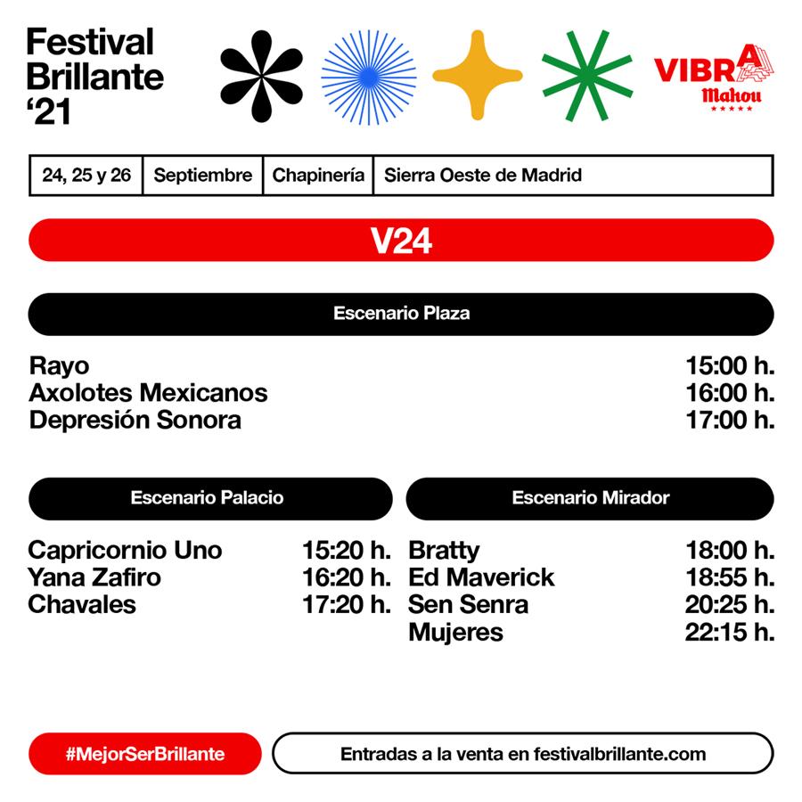 Horarios de Festival Brillante 2021 - Viernes