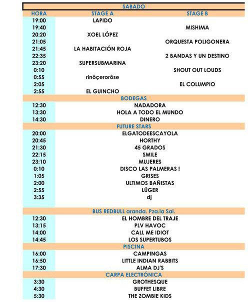 Horarios del Sonorama 2011 - Sábado 13